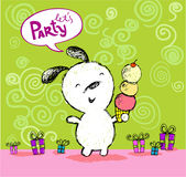 O cumprimento do aniversário deixou-nos Party o cartão com cachorrinho bonito Fotografia de Stock Royalty Free