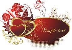 O cupid com dois corações Imagens de Stock Royalty Free