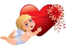 O Cupid traz o coração Imagem de Stock