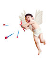 O cupido asiático do menino com uma curva e as setas isolou o branco com trajeto de grampeamento imagens de stock