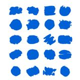O curso da escova de pintura da tinta azul do vetor da cole??o ajustou cursos decorativos tirados m?o da escova do grunge a cole? fotografia de stock royalty free