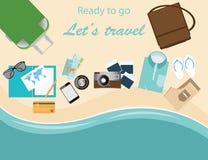 O curso da mala de viagem dos viajantes vacations illustrati conceptual do vetor Ilustração Royalty Free