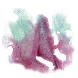 O curso do cal do isolado da aquarela da tinta da cor do respingo da pintura chapinha a escova azul violeta do aquarel do waterco Fotos de Stock