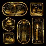 O curso do vintage do ouro carimba com monumentos e marcos ilustração royalty free