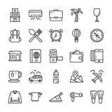 O curso e a linha ícones do hotel embalam ilustração royalty free
