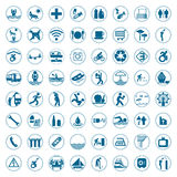 O curso e os sinais e os símbolos do turismo vector a ilustração Imagens de Stock Royalty Free