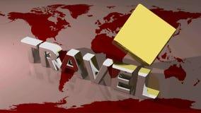 O CURSO em 3D metálico escreve suportes em um mapa do mundo quando um cubo dourado girar atrás do escreve - vídeo da rendição 3d ilustração do vetor
