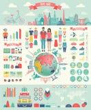 O curso Infographic ajustou-se com cartas e outros elementos Foto de Stock Royalty Free