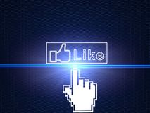 O cursor da mão que conecta Facebook gosta da tecla foto de stock