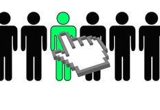 O cursor do pixel da mão seleciona a pessoa na fileira Imagens de Stock