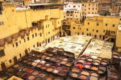 O curtume famoso de Chouwara de Marrocos Imagem de Stock