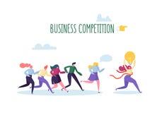 O curvatura e a terra arrendada asiáticos do homem de negócios da competição concept Caráteres lisos dos povos que correm com líd ilustração stock