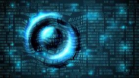 O Cyberspace futurista abstrato com código binário e circular acena na superfície, dígitos do fundo da matriz, Internet das coisa Foto de Stock
