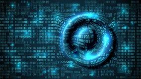 O Cyberspace futurista abstrato com código binário e circular acena na superfície, fundo da matriz com dígitos, dados grandes Foto de Stock