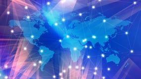 O Cyberspace internacional, o mapa do mundo e as linhas dos fios brancos de Digitas conectaram fotos de stock