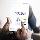 O Cyberspace liga Seo Webinar Hand Concept imagem de stock