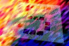 O dígito tridimensional cinco é moldado por um teste padrão similar a um labirinto em um fundo psicadélico ilustração do vetor