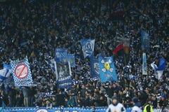O dínamo Kyiv ventila a comemoração do objetivo marcado em um círculo da liga do Europa do UEFA da segundo harmonia do pé 16 entr imagens de stock