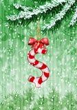 O dólar assina dentro a forma dos doces na árvore de Natal ilustração royalty free