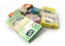 O dólar australiano nota a pilha dos pacotes Imagem de Stock