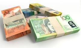 O dólar australiano nota a pilha dos pacotes Imagens de Stock