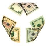 O dólar Bill recicl o sinal Imagens de Stock