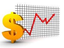 O dólar cresce acima o diagrama vermelho Imagem de Stock Royalty Free