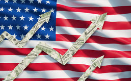 O dólar crescente nota setas sobre a bandeira do estado unido de América Imagens de Stock