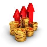 O dólar dourado inventa com as setas crescentes no fundo branco Fotos de Stock Royalty Free
