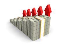 O dólar embala o gráfico de barra com aumentar setas vermelhas Foto de Stock Royalty Free
