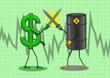 O dólar está lutando com o óleo Fotografia de Stock Royalty Free