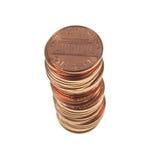 O dólar inventa 1 centavo da moeda de um centavo do trigo do centavo isolado Foto de Stock