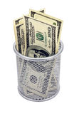Dólar vazio do recipiente e das cédulas Imagens de Stock Royalty Free