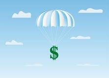 O dólar voa em um pára-quedas Fotos de Stock