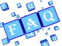 O dado do FAQ indica perguntas e a rendição frequentemente feitas do conselho 3d ilustração stock