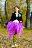 O dançarino dança no outono Foto de Stock Royalty Free