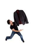 O dançarino de bailado à moda começ undressed no movimento Fotografia de Stock