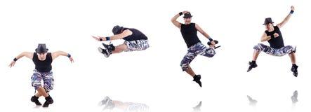 O dançarino isolado no fundo branco Fotografia de Stock