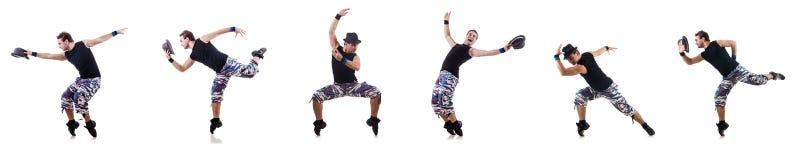 O dançarino isolado no fundo branco Fotos de Stock Royalty Free