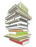 O ¡ de Ð olored a ilustração com a pilha de livro-construções Fotografia de Stock Royalty Free