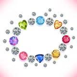 O ¡ de Ð olored o quadro oval das gemas isolado no fundo branco Fotos de Stock Royalty Free
