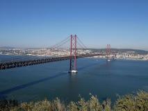 25o de April Bridge em Lisboa, Portugal Imagem de Stock Royalty Free