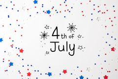 4o de decorações de julho em um fundo branco Imagens de Stock Royalty Free