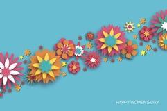 O 8 de março colorido Dia feliz das mulheres s Dia na moda da mãe s Cartão floral cortado papel Flor de Origami Espaço para o tex ilustração do vetor