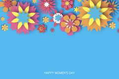 O 8 de março colorido Dia feliz das mulheres s Dia na moda da mãe s Cartão floral cortado papel Flor de Origami texto Mola ilustração stock