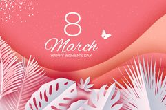 O 8 de março tropical na moda Cartão do dia de Coral Womens com as folhas cortadas de papel Ramalhete exótico da flor do origâmi  ilustração do vetor