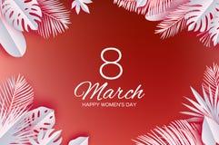 O 8 de março tropical na moda Cartão do dia de Coral Womens com as folhas cortadas de papel Ramalhete exótico da flor do origâmi  ilustração royalty free