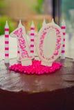 10o decoração do bolo de aniversário Foto de Stock Royalty Free