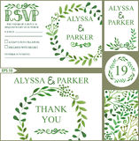 o Decoração verde dos ramos da aquarela ilustração stock