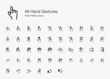 O dedo da mão gesticula ícones perfeitos do pixel (linha o estilo) Fotos de Stock